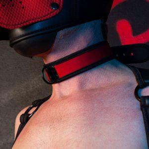Puppy Masker met Halsband Zwart/Rood