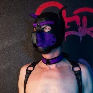 Puppy Masker met Halsband Zwart/Paars