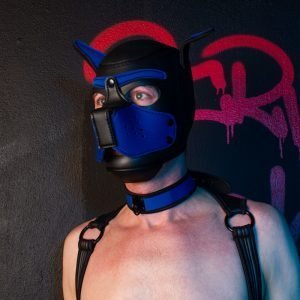 Puppy Mask with Collar Black/Blue