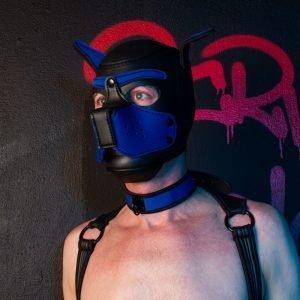 Puppy Masker met Halsband Zwart/Blauw
