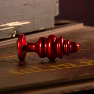 Aluminium Geribbelde Rode Buttplug